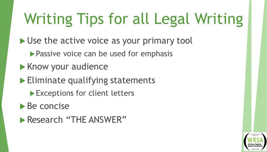 Legal Writing Workshop - Part 1: 10 Legal Writing Tips