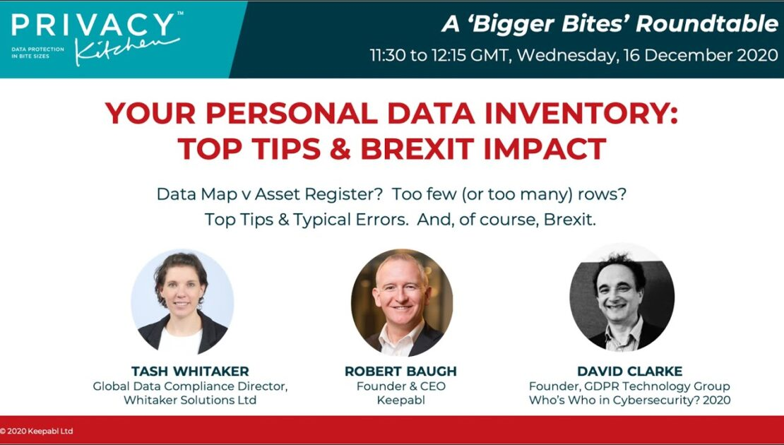 Your Personal Data Inventory Top Tips & Brexit Impact 161220