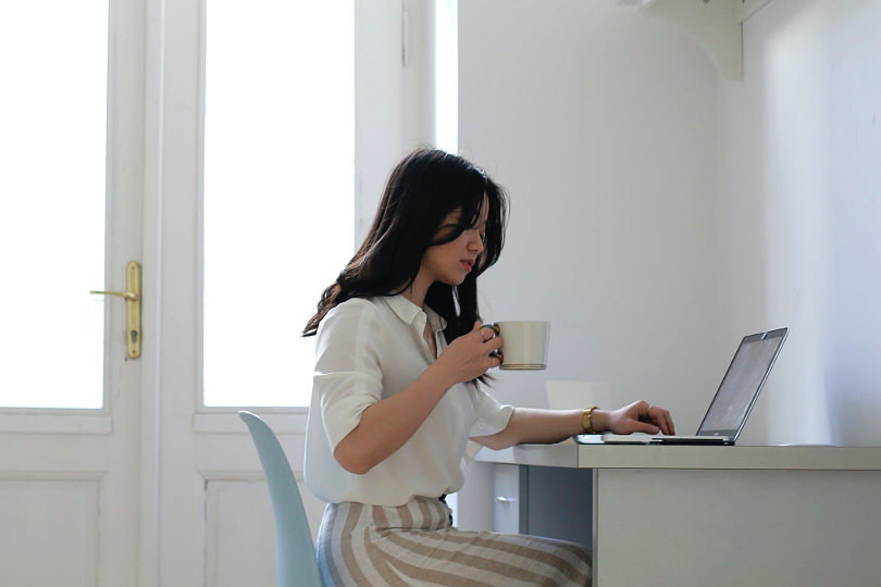 Productive businesswoman