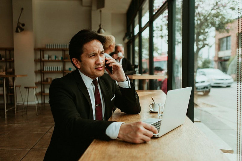 Passionate entrepreneur on the phone