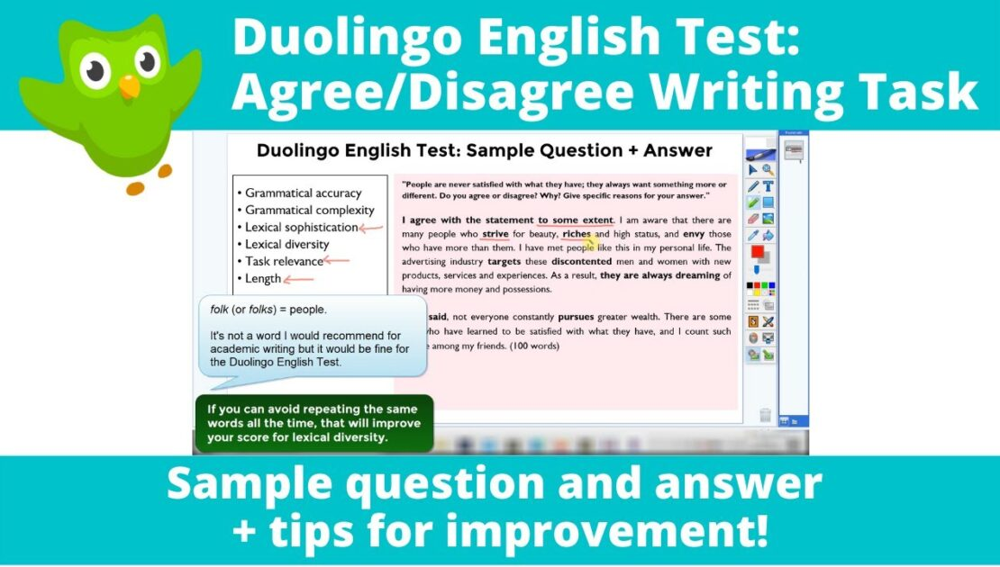 Duolingo English Test: Agree/Disagree Writing Task | Sample Question & Answer + Tips for Improvement