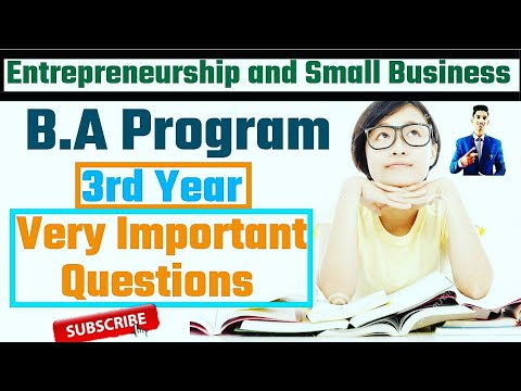 Entrepreneurship and Small Business Very Important Questions With Solutions || B.A Program 3rd Year