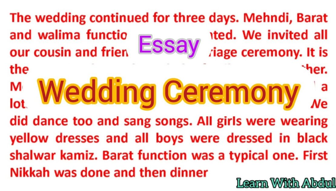 Write an essay on wedding ceremony in English   Describe a wedding you attended   Ielts speaking